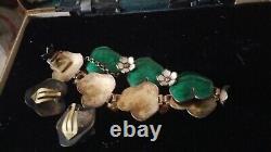 Vintage DAVID ANDERSON Norway STERLING Enamel LILY PAD BRACELET& Earrings Estate