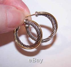 Vintage DAVID YURMAN Sterling Silver & 18K Gold Cross Over Hoop Earrings (Small)