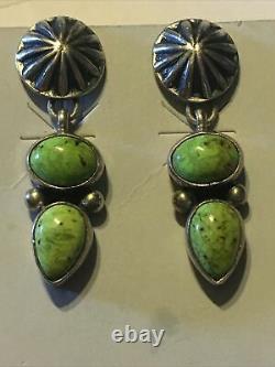 Vintage D Cadman Navajo Green Turquoise Sterling Earrings signed