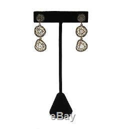 Vintage Dangle Earrings Sliced Diamonds Gold Washed Sterling Silver Setting