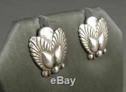 Vintage Danish Art Modern GEORG JENSEN Sterling Silver Earrings Bittersweet 110