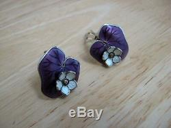 Vintage David Andersen Lily Pad Earrings Sterling Silver and Guilloche Enamel