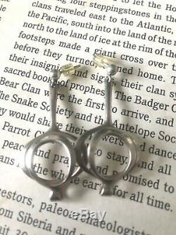 Vintage David Andersen Modernist Solje Sterling Silver Genie Earrings 1.5