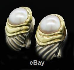 Vintage David Yurman Capri 14k Gold Sterling Silver Mabe Pearl Omega Earrings