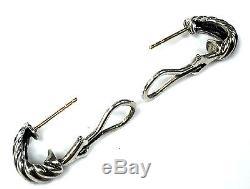 Vintage David Yurman Small Sterling Silver & 14K Gold Shrimp Earrings
