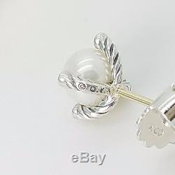 Vintage David Yurman Small Sterling Silver 6mm Cable Pearl & Diamond Earrings