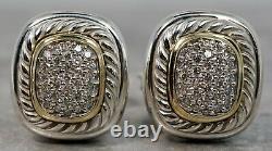 Vintage David Yurman Sterling Silver 18K Yellow Gold Diamond Albion Earrings