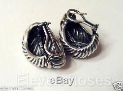 Vintage David Yurman XL Heavy Statement Earrings 925 Sterling Silver 14k Gold