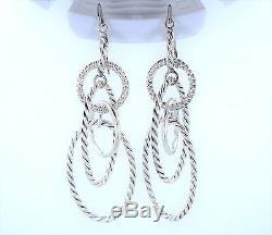 Vintage David Yurman sterling silver drop earrings with pave diamond details