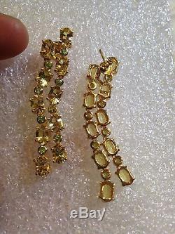 Vintage Deco Real Gemstone Citrine Real Emerald 925 Sterling Silver Earrings