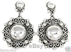 Vintage Design Taxco Mexican Sterling Silver Bead Beaded Scroll Earrings Mexico