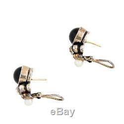 Vintage Designer James Avery 925 Sterling Silver 14k Gold Onyx Pearl Earrings