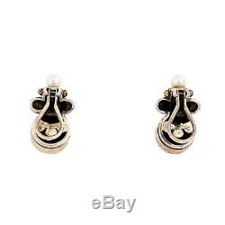 Vintage Designer Sterling 925 Silver 14k Gold Onyx Pearl Scalloped. 97 Earrings