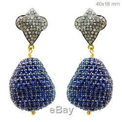 Vintage Diamond Pave 925 Sterling Silver Blue Sapphire Dangle Earrings 14K Gold