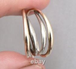 Vintage Ed Levin STERLING Silver 14K GOLD Pierced J hoop Drop EARRINGS Mid-Mod