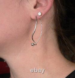 Vintage Ed Levin STERLING Silver Long Pierced Dangle Drop EARRINGS Mid-Mod