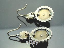 Vintage Edwardian Bohemian rose cut garnet Sterling Silver Estat dangle Earrings