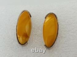 Vintage Egg Yolk Baltic Amber Butterscotch sterling silver Earrings