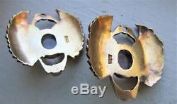 Vintage Egyptian Revival Earrings Enamel Scarab Amethyst Pearl Sterling Silver
