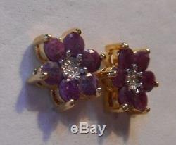 Vintage Estate1.8 ct Genuine Ruby & Diamond 925 Sterling Silver Stud Earrings