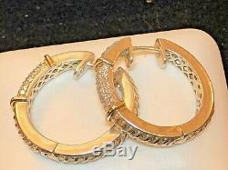 Vintage Estate 14k Gold Sterling Silver Diamond Earrings Hoop Huggie Signed Atr