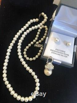 Vintage Estate Lot Sterling Silver Pearl Judith Ripka Necklace Bracelet Earrings