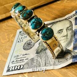 Vintage Estate Natural Turquoise Cuff Bracelet VTG Sterling Nice Color
