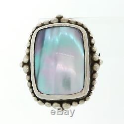 Vintage Estate Stephen Dweck Sterling Silver 18x14mm Mother Of Pearl Earrings