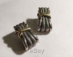 Vintage Estate Sterling And 14k Gold David Yurman Ear Rings