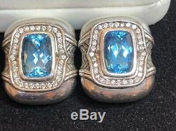 Vintage Estate Sterling Earrings Designer Signed Scott Kay Diamonds Blue Topaz