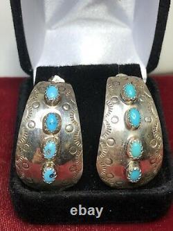 Vintage Estate Sterling Native American Earrings Kingman Turquoise Signed J J