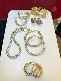 Vintage Estate Sterling Silver & 12k Gf Lot Jewelry Earrings Bracelet Sapphire