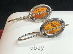 Vintage Estate Sterling Silver Amber Earrings French Earrings Natural Amber