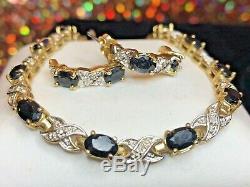 Vintage Estate Sterling Silver Blue Sapphire & Diamond Bracelet & Earring Set
