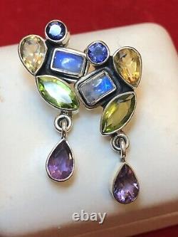 Vintage Estate Sterling Silver Earrings Signed Nb Moonstone Citrine Peridot