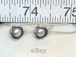 Vintage Estate Sterling Silver Gray Pearl Earrings Designer Signed Pandora