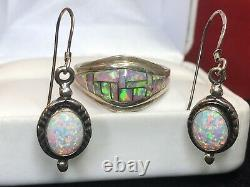 Vintage Estate Sterling Silver Inlaid Opal Ring & Earrings Drop Band Signed DC