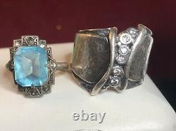 Vintage Estate Sterling Silver Lot 4 Rings Earrings Pin Smokey Topaz