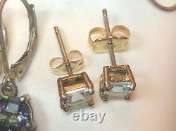 Vintage Estate Sterling Silver Lot Earrings Gemstones Topaz Mystic Topaz Quartz