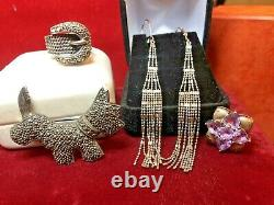Vintage Estate Sterling Silver Lot Jewelry Rings Earrings Pins Pendant Pandora