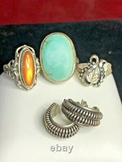 Vintage Estate Sterling Silver Lot Southwestern Rings Earrings Turquoise