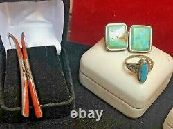 Vintage Estate Sterling Silver Lot Southwestern Turquoise Earrings Ring