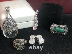 Vintage Estate Sterling Silver Lot Spoon Ring Pin Chrysoprase Earrings Pendant