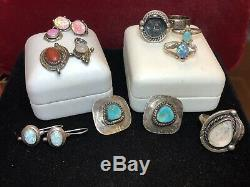 Vintage Estate Sterling Silver Lot Turquoise Earrings Opal Moonstone Pendant