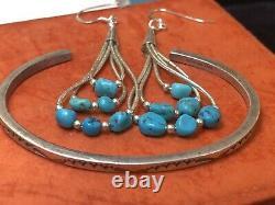 Vintage Estate Sterling Silver Native American Bracelet & Turquoise Earrings