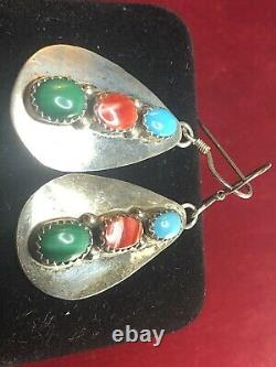 Vintage Estate Sterling Silver Native American Earrings Turquoise Malachite