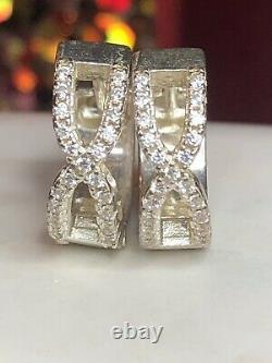 Vintage Estate Sterling Silver Natural Diamond Earrings Huggies Signed Bsi Hoops