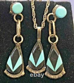 Vintage Estate Sterling Silver Onyx Turquoise Inlaid Earrings Necklace Set