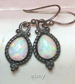Vintage Estate Sterling Silver Opal Earrings Drop Dangle Gemstone