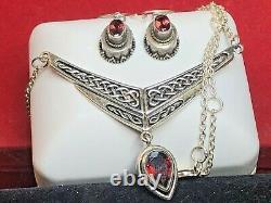 Vintage Estate Sterling Silver Red Garnet Necklace Pendant & Earrings Drop Wire